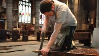 Workman in Wakefield Cathedral