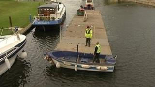 Sewage barge on River Ouse