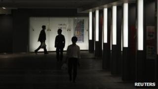 Dimmed Tokyo railway station passageway