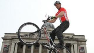 Trials bike rider Danny Butler in Nottingham's Market Square