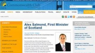 Advert for Alex Salmond speech on Commonwealth Club website
