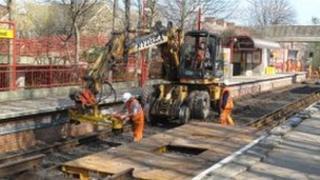 workmen on the Tyne and Wear Metro
