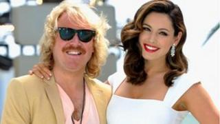 """""""Keith Lemon"""", played by Leigh Francis, and Kelly Brook"""