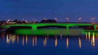 Stockton's Princess of Wales Bridge lit up