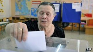 A Greek lady casting her vote, 6 May 2012