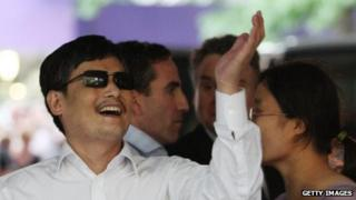 Blind Chinese activist Chen Guangcheng arriving on the campus of New York University on 19 May, 2012 in New York City