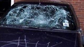 A damaged car windscreen