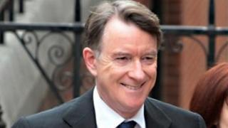 Lord Mandelson arriving at the inquiry