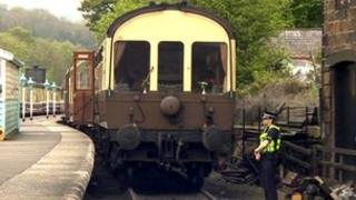Police and rail carriage at Grosmont Station