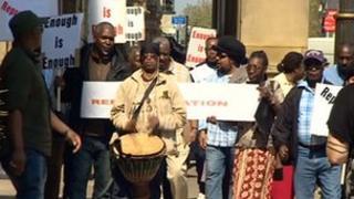 Protesters in Birmingham
