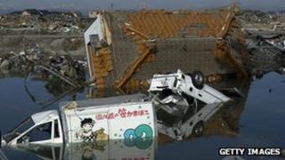 Rubble following last year's tsunami