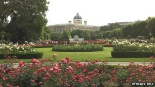 The Volksgarten garden in central Vienna
