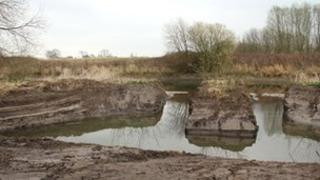 A fish refuge created on the bank