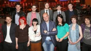 Presenters and performers at the event in the Ulster Hall