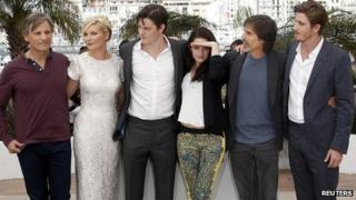 Director Walter Salles (second from right) with members of the On the Road cast