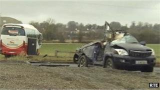 Scene of fatal bus crash in County Meath