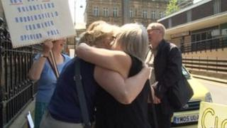 Campaigners outside Huddersfield Town Hall
