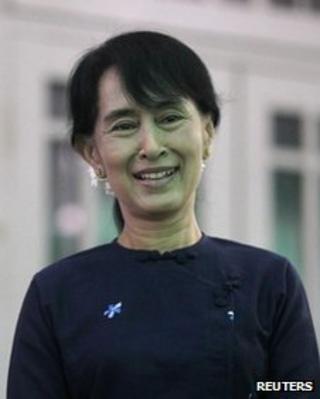 Myanmar pro-democracy leader Aung San Suu Kyi at home in Rangoon on 6 May, 2012