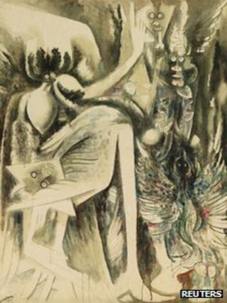 "An undated handout photo shows Cuban Wifredo Lam's ""Idolo (Oya/Divinite de l'Air et de la mort)"""