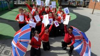 Children from St Peter at Gowts School in Lincoln