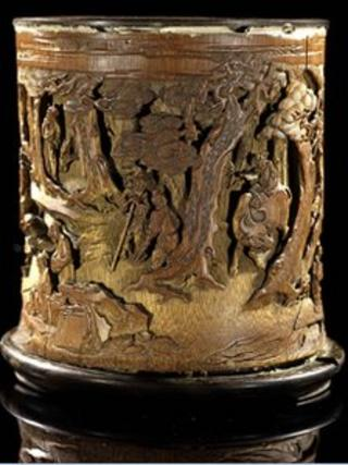 A 300-year-old Chinese bamboo brushpot