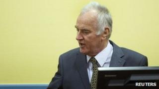 Ratko Mladic at The Hague. 16 May 2012