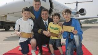 The youngsters at Farnborough Airport