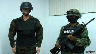 A mannequin wearing a counterfeit uniform seized in Mexico