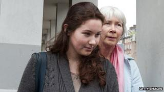 Laura Johnson (left) leaves court with her mother Lindsay Johnson