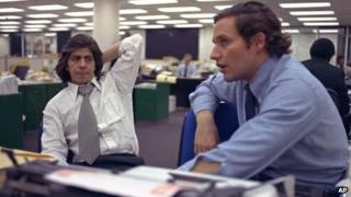 Bob Woodward, right, and Carl Bernstein in the Washington Post newsroom, 7 May 1973