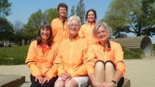 Back row: Pam Binns and Mary Hawes Pat Ward, Sue Crook and Anne Riley
