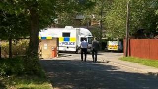 Police investigate the scene