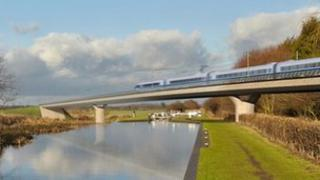 Artist's impression of HS2, the planned high speed rail link between London and Birmingham