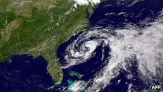 Satellite image of tropical storm Beryl 26 May 2012