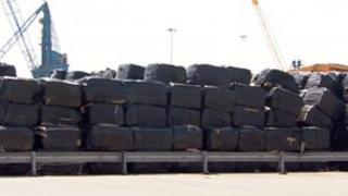 Waste bales at Goole docks