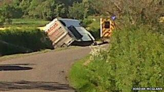 Bus in ditch on Humby Road