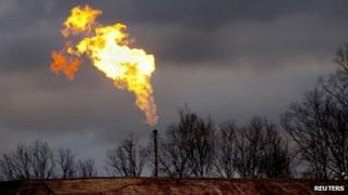 Gas flare from fracking site in Pennsylvania