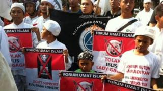 Protesters against Lady Gaga in Indonesia