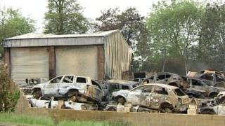 A number of scrap cars were burnt out in the fire