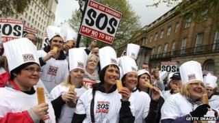 Bakers protesting over the so-called pasty tax in London in April