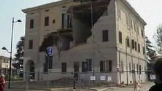 The quake shook Sant'Agostino, where buildings were already badly damaged by a previous tremor