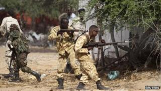 Somali and African Union troops fight back against al-Shabab gunmen