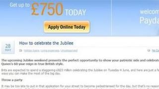 Screengrab of the Payday Bank blog