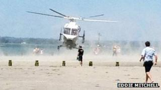 Helicopter landing on West Wittering beach after man drowned