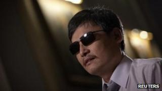 Chen Guangcheng, the blind Chinese dissident gives an interview in New York on 24 May, 2012