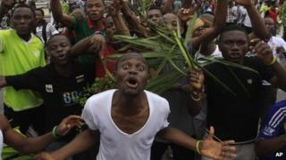 Protesting students from the University of Lagos - Wednesday 30 May 2012