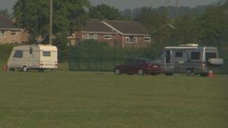 Caravan parked on school field
