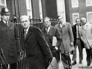 Doctors arrive in Downing Street for talks with Prime Minister Harold Wilson in 1975