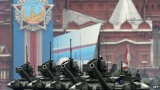 A column of tanks on parade on 9 May in Moscow's Red Square.
