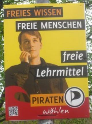 Pirate party election poster in North Rhine-Westphalia, Germany, April 2012